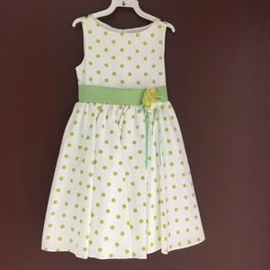 Other - White Girl's Dress with Green Polka Dots